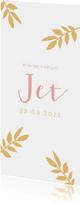 Geboortekaartje met okergele takjes en roze letters