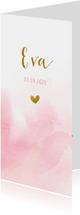 Geboortekaartje met roze waterverf en goud hartje