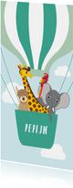 Geboortekaartje met vrolijke diertjes in een luchtballon