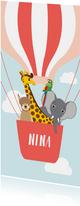 Geboortekaartje met vrolijke diertjes in roze luchtballon