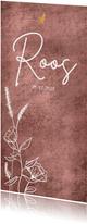 Geboortekaartje met wilde bloemen en gouden hartje