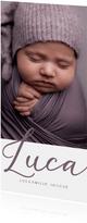 Geboortekaartje minimalistisch met grote foto en naam