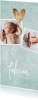 Geboortekaartje mintgroen met 4 foto's winterlook