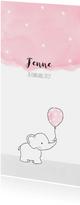 Geboortekaartje olifantje met roze ballon en sterren