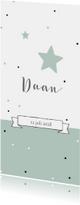 Geboortekaartje panorama voor jongen met sterren en stippen