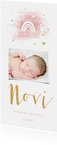 Geboortekaartje regenboog met foto, hartjes en waterverf
