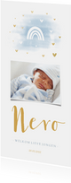 Geboortekaartje regenboog met foto, waterverf en hartjes
