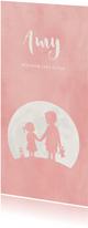 Geboortekaartje roze silhouet broer en zusje in volle maan