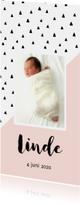Geboortekaartje schuine lijn, aanpasbare kleur