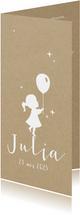 Geboortekaartje silhouet van ballon en meisje