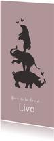 Geboortekaartje silhouet van neushoorn, olifant en beer