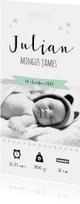 Geboortekaartje stoer foto zwart wit