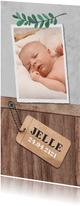 Geboortekaartje stoer met hout, label en blaadje
