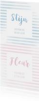 Geboortekaartje tweeling met strepen in roze/blauw