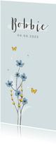Geboortekaartje unisex bloemen lief hartjes bloemen vlinder