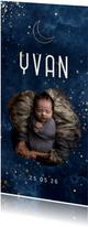 Geboortekaartje wolkjes met foto en gouden maan