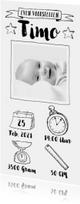 Geboortekaartje zwartwit icoontjes en foto