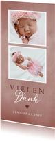 Geburt Dankeskarte zwei Fotos rosa