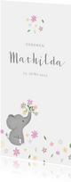 Geburtskarte Elefant mit Blumen Foto Rückseite