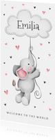 Geburtskarte Elefant mit Wolke & Herzen rosa