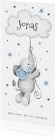 Geburtskarte Elefant mit Wolke & Sternen blau