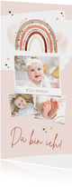 Geburtskarte Fotocollage Regenbogen rosa