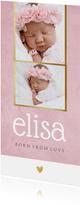 Geburtskarte Fotos rosa mit Goldrand