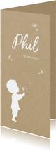 Geburtskarte Junge mit Pusteblume Foto innen