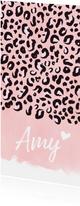 Geburtskarte Leopardenmuster rosé