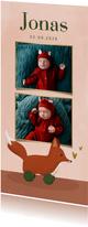 Geburtskarte mit Fotos Spielzeug-Fuchs