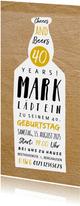 Geburtstagseinladung Bierflasche Typografie