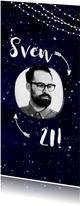 Geburtstagseinladung dunkelblau mit Lichtern und Foto