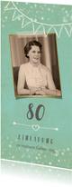 Geburtstagseinladung mit altem Foto und Girlande