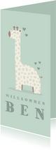 Glückwunschkarte zur Geburt Giraffe grün Willkommen