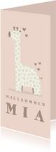 Glückwunschkarte zur Geburt Giraffe rosa Willkommen