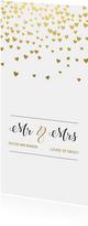 Gouden hartjes trouwkaart