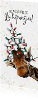 Grappige giraf met kerstboom van lichtpuntjes kerstkaart