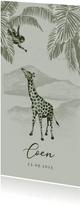 Groen geboortekaartje jungle handgetekend giraf aapje