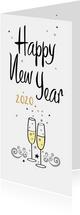 Happy New Year champagne bubbels en sterren met jaartal