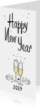 Nieuwjaarskaarten - Happy New Year champagne bubbles and stars 2019