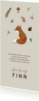 Herfst geboortekaartje vos blaadjes paddenstoel
