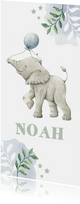 Hip botanisch geboortekaartje jongen met olifantje en ballon