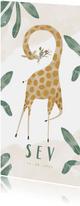 Hip geboortekaartje giraf met bladeren unisex