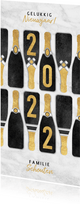 Hippe champagneflessen nieuwjaarskaart gouden 2022
