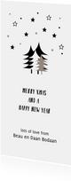 Hippe enkele kerstkaart met verzameling kerstbomen