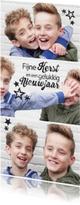 Hippe kerstkaart met foto en sterren