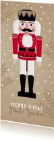 Hippe langwerpige kerstkaart met notenkraker illustratie