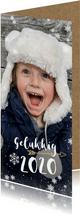 Hippe langwerpige nieuwjaarskaart met grote foto
