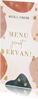 hippe menukaart voor bruiloft geometrische vormen & spetters