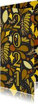 Hippe Neujahrskarte 2020 botanischer Hintergrund